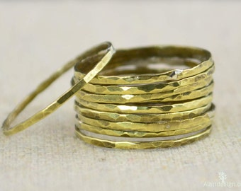 Super Thin Brass Stacking Ring(s),Brass Rings,Brass Ring, Brass Stacking Ring, Gold Brass Ring, Hammered Brass Ring, Dainty Brass Ring, BOHO