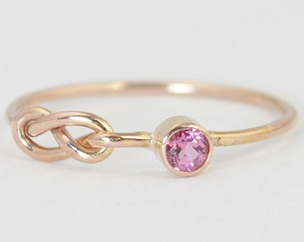 14k Rose Gold Pink Tourmaline Infinity Ring, 14k Rose Gold Ring, Stackable Rings, Mother's Ring, October Birthstone, Rose Gold Infinity Ring