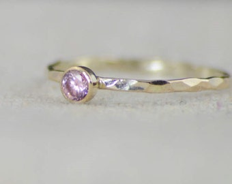 Dainty Gold Filled Pink Tourmaline Ring, Hammered Gold, Stacking Rings, Mother's Ring, October Birthstone Ring, Pink Ring, Rustic Tourmaline