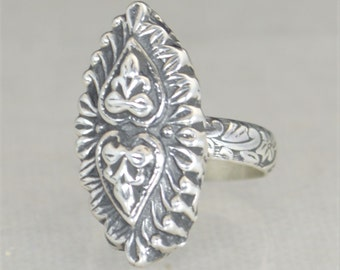 Buddha / Heart Ring, Floral Ring, Statement Ring, Sterling Silver Ring, Buddha Ring, Bohemian Ring, Tribal Ring, Unique Ring, Sand Cast Ring