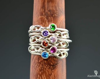 Grab 6 Silver Infinity Mother's Rings, Infinity Ring, Stacking Mothers Ring, Infinity Knot Ring, Mother's Gemstone Ring, Silver Knot Ring