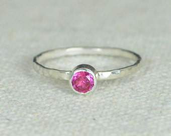 Small Ruby Ring, Hammered Silver, Stackable Rings, Mother's Ring, July Birthstone Ring, Skinny Ring, Mothers Ring, Silver Ruby Ring