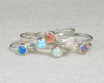 Small Opal Rings, Opal Ring,  Opal Jewelry, Stacking Ring, October Birthstone Ring, Opal Ring,  Mothers Ring, Blue Opal