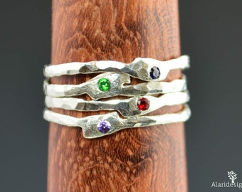 Grab 4-Thin Freeform Mother's Rings, Birthstone Ring, Stacking Rings, Silver Birthstone Rings, Mother's Gemstone Ring, Pure Silver Rings