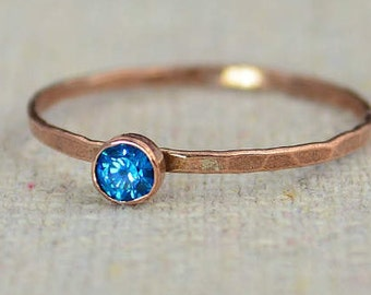 Dainty Copper Blue Zircon Ring, Hammered Copper, Blue Zircon Mother's Ring, Decembers Birthstone Ring, Copper Jewelry, Blue Zircon Ring