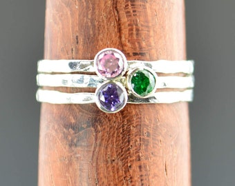 Grab 3 Mothers Rings, Set of 3, Mothers Jewelry, Silver Mothers Rings, Pure Silver Mothers Rings, Gemstone Rings, Grandmas Rings, Birthstone