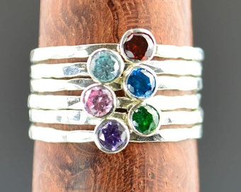 Grab 6 - Dainty Silver Mothers Rings, Mother's Ring, Grandmas Rings, Mommy Ring, Mothers Jewelry, Mothers Ring, Gift for Mom