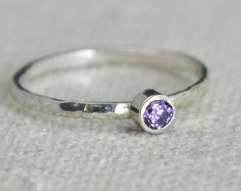 Classic Sterling Silver Amethyst Ring, Silver Solitaire, Solitare Ring, Silver Jewelry, February Birthstone, Mothers Ring, Silver Band