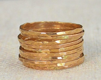 Set of 10 Super Thin 14k Rose Gold Rings, 14k Rose Gold Filled,  Rose Gold Stacking Rings, Simple Rose Gold Ring, Thin Rose Gold Rings