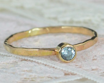 Aquamarine Engagement Ring, Solid 14k Gold, Aquamarine Wedding Ring Set, Rustic Wedding Ring Set, March Birthstone, 14k Aquamarine Ring