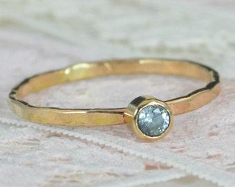 Aquamarine Engagement Ring, Solid 14k Gold, Aquamarine Wedding Ring Set, Rustic Wedding Ring Set, March Birthstone, 14k Aquamarine Ring