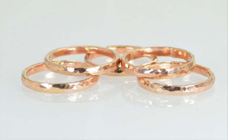 Super Thick Stackable 14k Rose Gold Filled Rings Stack image 0