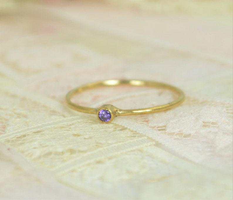 Tiny Amethyst Ring Set Solid 14k Gold Wedding Set Amethyst image 0