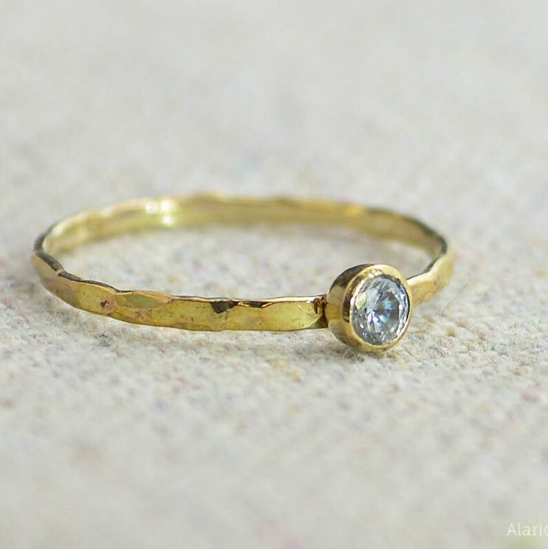 Dainty Gold Filled  CZ Diamond Ring Hammered Gold Stacking image 0