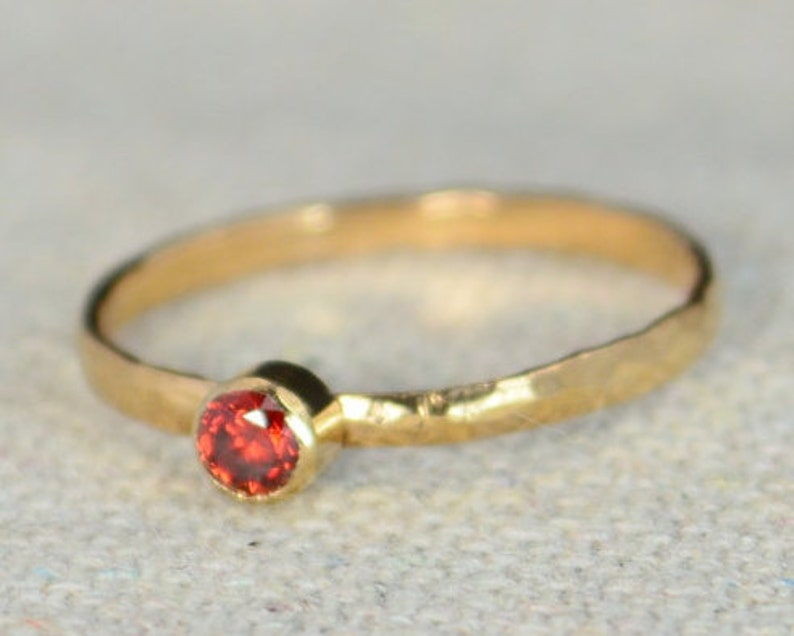 Classic Rose Gold Filled Garnet Ring Solitaire Solitaire image 0