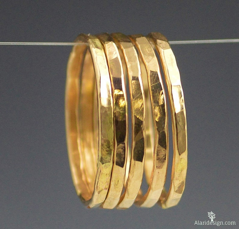 Classic Gold Stackable Rings 14k Gold Filled Gold Stacking image 0