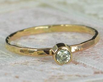 Peridot Engagement Ring, 14k Gold, Peridot Wedding Ring Set, Rustic Wedding Ring Set, August Birthstone, Solid 14k Peridot Ring