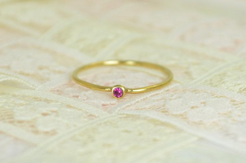 Tiny Ruby Ring Set Solid Gold Wedding Set Stacking Ring image 0