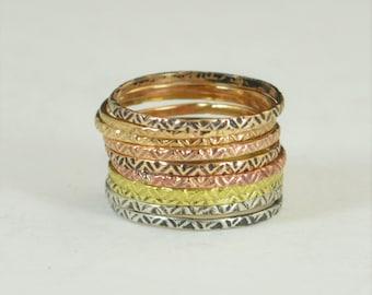 Bohemian Stacking Rings, BoHo Rings, Tribal Rings, ZigZag Stacking Rings, Rustic Ring, Sterling Ring, Brass Ring, Bronze Ring, Gold Ring-A19