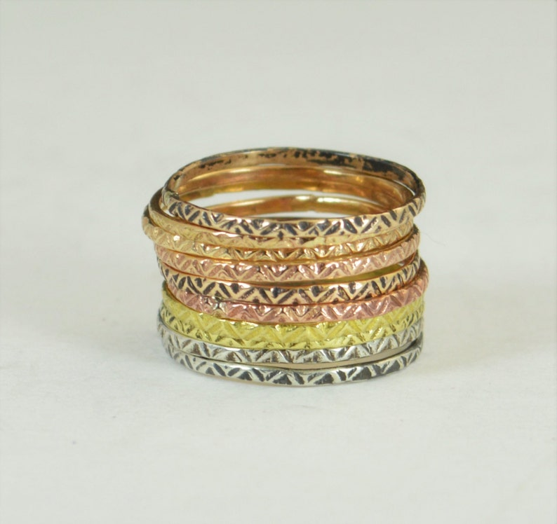 Bohemian Stacking Rings BoHo Rings Tribal Rings ZigZag image 0