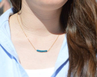 Apatite Necklace, Gem Bar, Dainty 14k Gold Fill, Sterling Silver, Rose Gold, Blue Necklace, Faceted Apatite, Bar Necklace, Gold