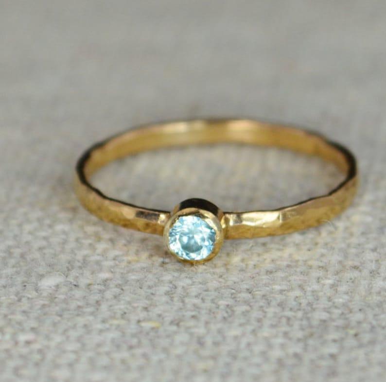 Classic Rose Gold Filled Aquamarine Ring Solitaire Solitaire image 0