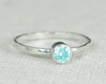 Small Aquamarine Ring, Mothers Ring, Hammered Silver, Stackable Rings, Mother's Ring, March Birthstone, Skinny Ring, Stack Ring, Silver Ring