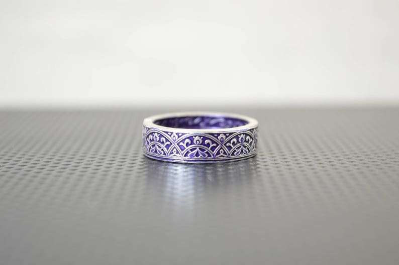 Moroccan Coin Ring Purple Coin Ring Stained Glass Ring image 0