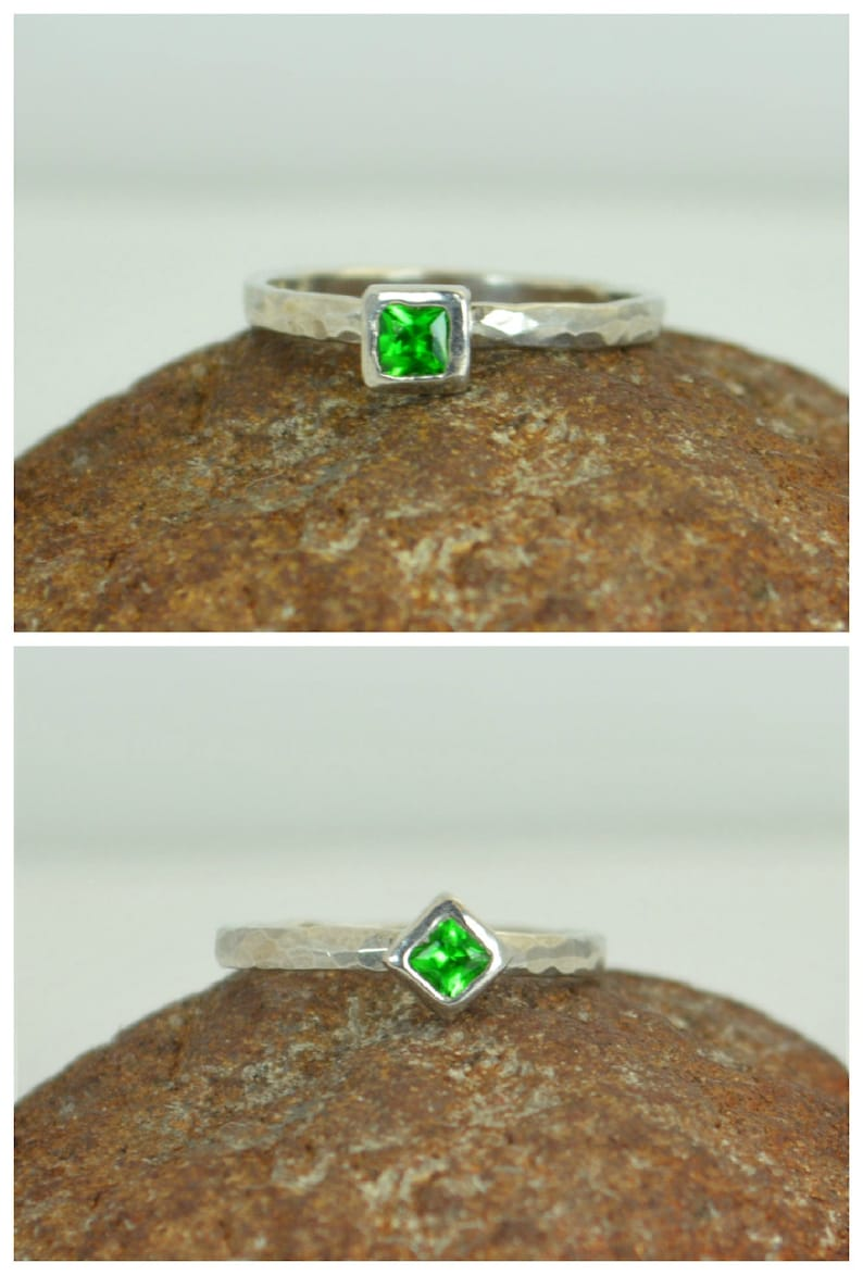 Square Emerald Ring Emerald White Gold Ring May's image 0