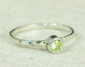 Small Peridot Ring, Hammered Silver, Stackable Rings, Mother's Ring, August Birthstone Ring, Skinny Ring, Mothers Ring, Peridot Ring
