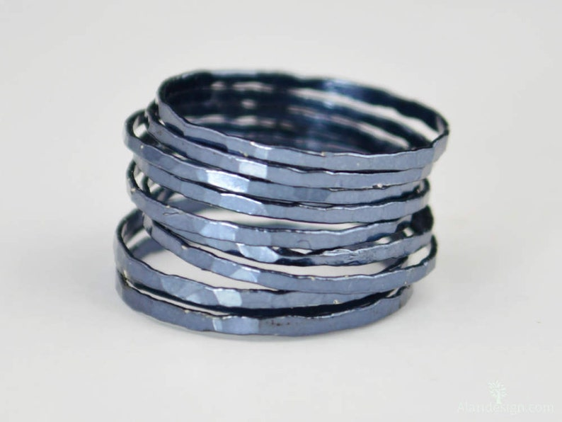 Super Thin Gunmetal Silver Stackable RingsGunmetal image 0