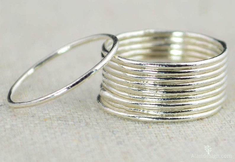 Thin Round Pure Silver Stackable Rings Stacking Rings image 0