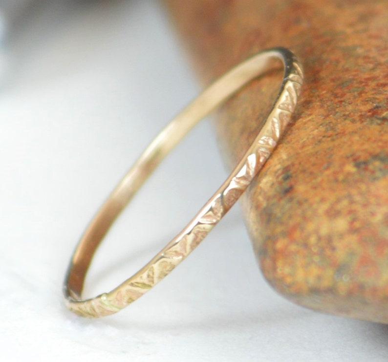 14k Gold Bohemian Ring Rustic Wedding Ring Thin Gold Ring image 0