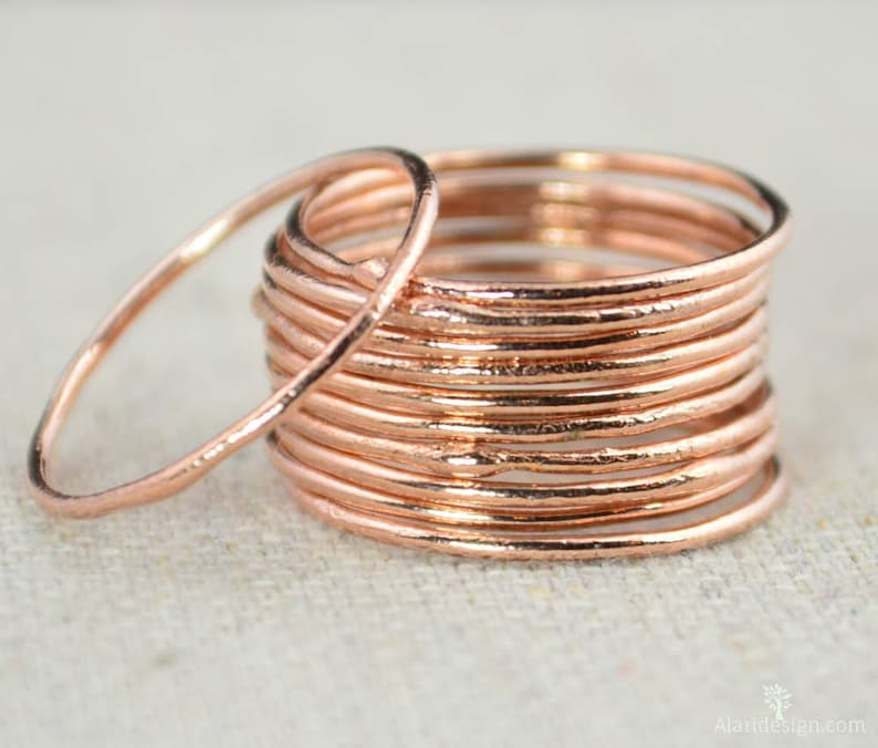 Thin Round Copper Stacking Rings Pure Copper Copper image 0