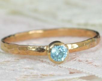 Aquamarine Engagement Ring, 14k Rose Gold, Aquamarine Wedding Ring Set, Rustic Wedding Ring Set, March Birthstone, Solid 14k Aquamarine Ring