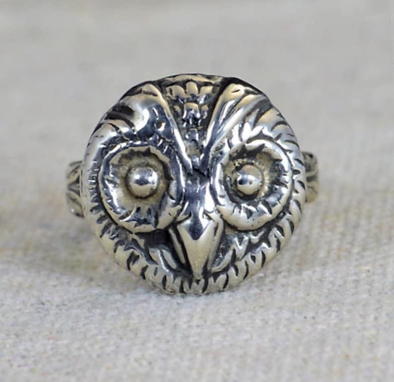 Owl Ring Owl Face Ring Silver Owl Ring Owl Jewelry Bird image 0