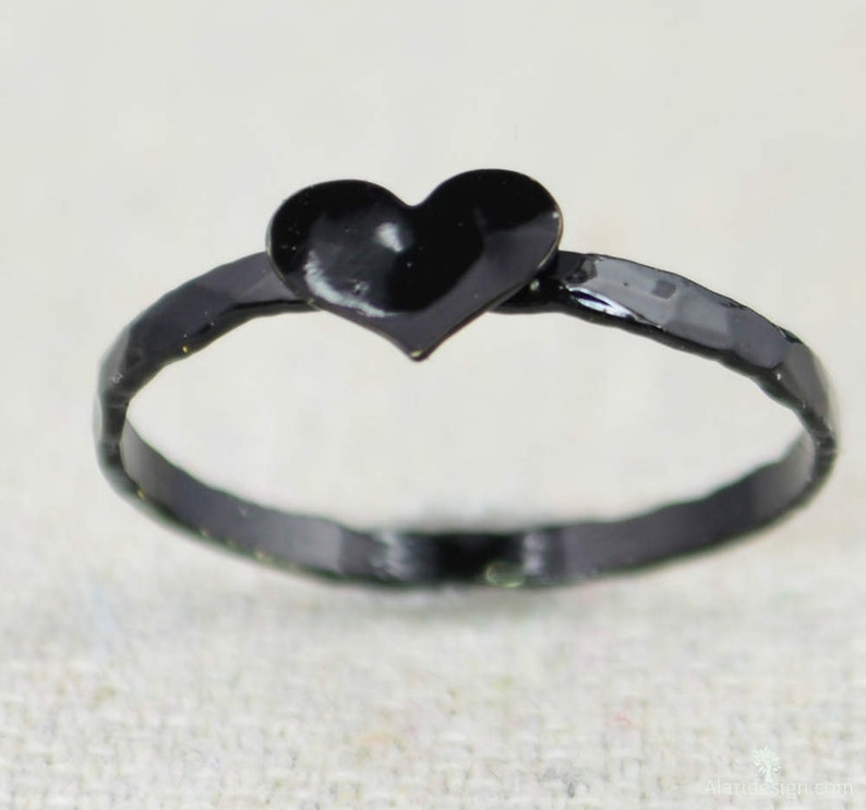 Black Heart Ring Sterling Silver Stacking Ring Personalized image 0