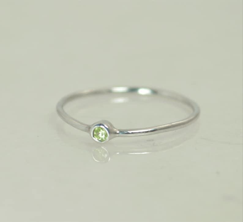 Tiny Peridot Ring Peridot Stacking Ring White Gold Peridot image 0