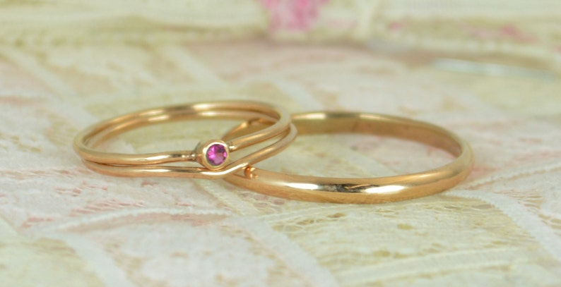 Tiny Ruby Ring Set Solid Rose Gold Wedding Set Stacking image 0
