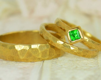 Square Emerald Engagement Ring, 14k Gold, Emerald Wedding Ring Set, Rustic Wedding Ring Set, May Birthstone, Solid Gold, Emerald Ring