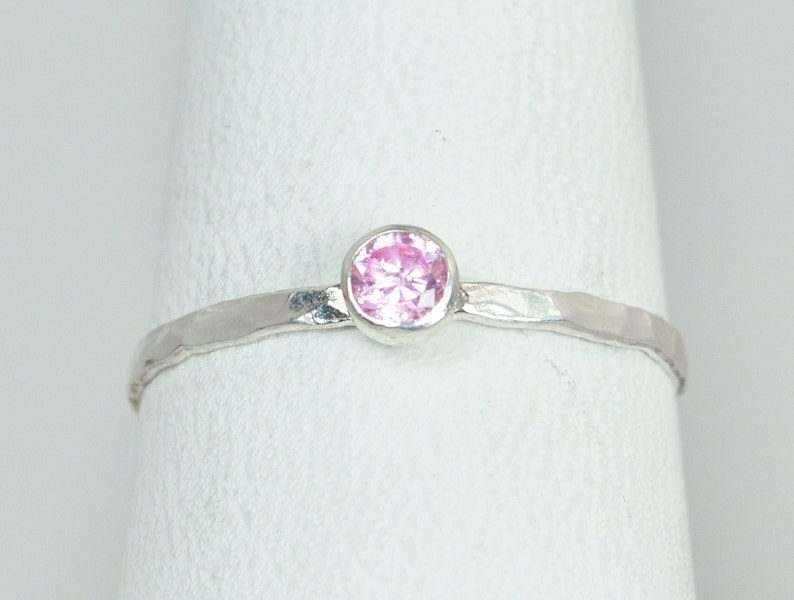 Dainty Pink Tourmaline Ring Silver Stackable Rings image 0