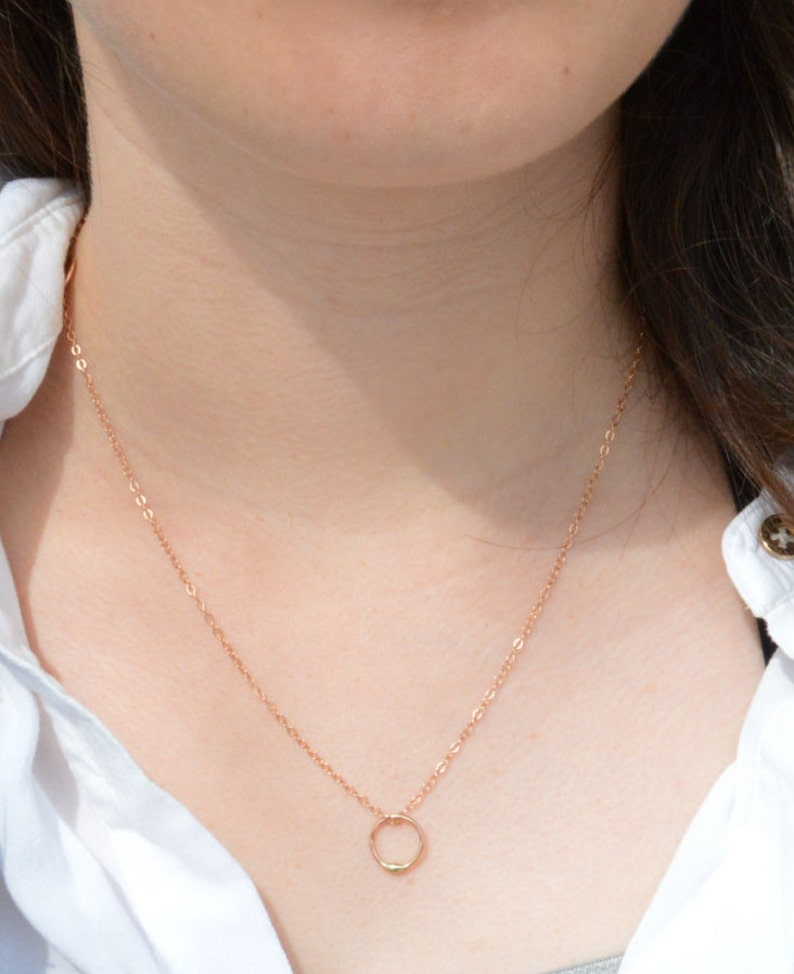 Rose Gold Filled and Solid Gold Dew Drop Necklace Gold Circle image 0