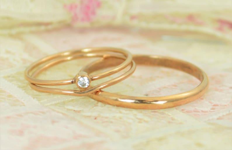 Tiny Diamond Ring Set Solid 14k Rose Gold Wedding Set image 0