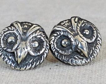 Owl Earrings, Owl face earrings, Statement Earrings, Sterling stud earrings, Owl Stud Earrings, Silver Owl Earrings, Bird Earrings,Owl Studs