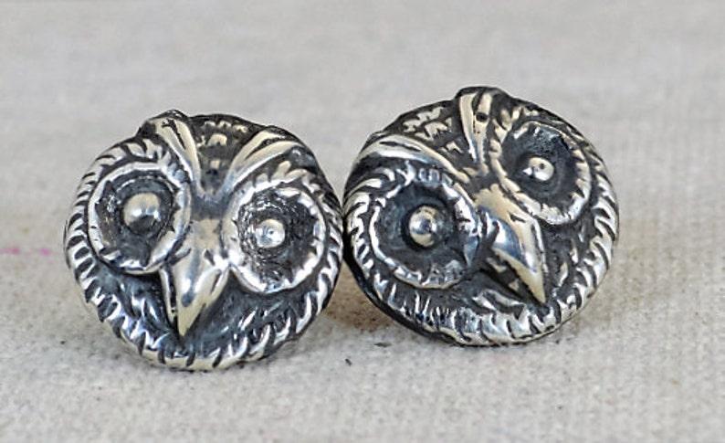 Owl Earrings Owl face earrings Statement Earrings Sterling image 0