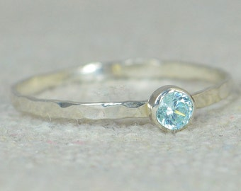 Aquamarine Ring, Dainty Ring, Skinny Ring, March Birthstone, Thin Silver Ring, Stack Ring, Mother's Ring, Mothers Ring, Stacking Ring, Alari