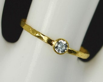 Dainty Solid 14k Gold CZ Diamond Ring, 3mm gold solitaire, solitaire ring, Solid Gold, April Birthstone, Mothers RIng, Solid gold band, Gold