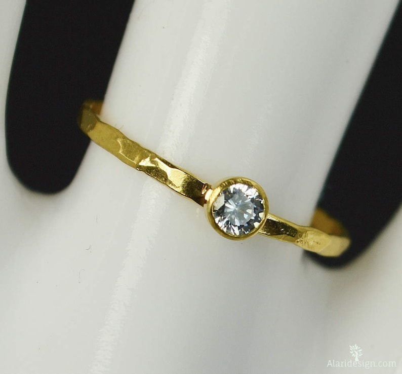 Dainty Solid 14k Gold CZ Diamond Ring 3mm gold solitaire image 0