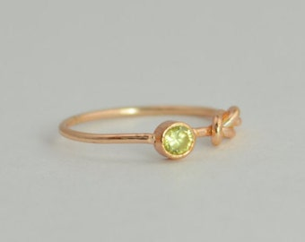 14k Rose Gold Peridot Infinity Ring, 14k Rose Gold, Stackable Rings, Mothers Ring, August Birthstone, Rose Gold Infinity,Rose Gold Knot Ring