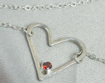 Garnet Heart Necklace, Sterling Silver,  Mothers Necklace, January Birthstone Necklace, Garnet Necklace, Mother's Necklace, Heart Pendant